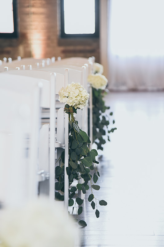 simple wedding aisle decor, white hydrangeas with greenery