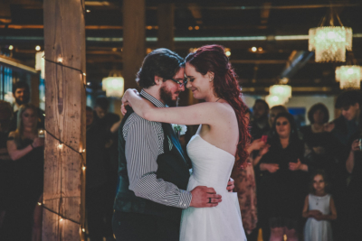 Alex and Tyler dancing their first dance in the beautiful City View Venue at Studio D2D Event Center in Grand Rapids, Michigan