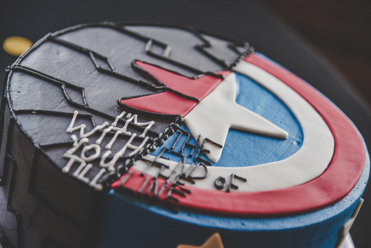 Captain America Marvel Grooms Wedding Cake