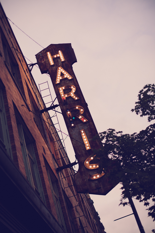 lit marquis sign at the Harris building in downtown Grand Rapids Michigan