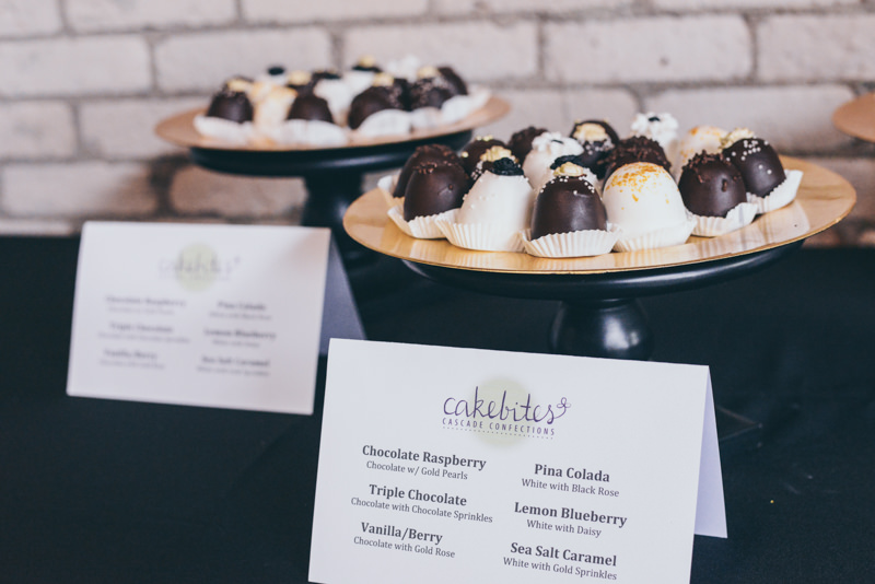 chocolate covered cake bites at a wedding reception