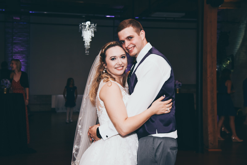 bride and groom dancing during their reception