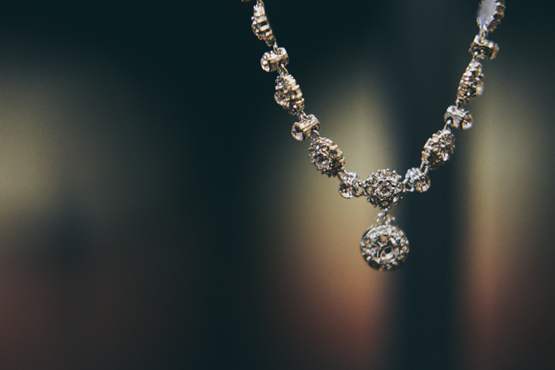 image of bridal necklace hanging