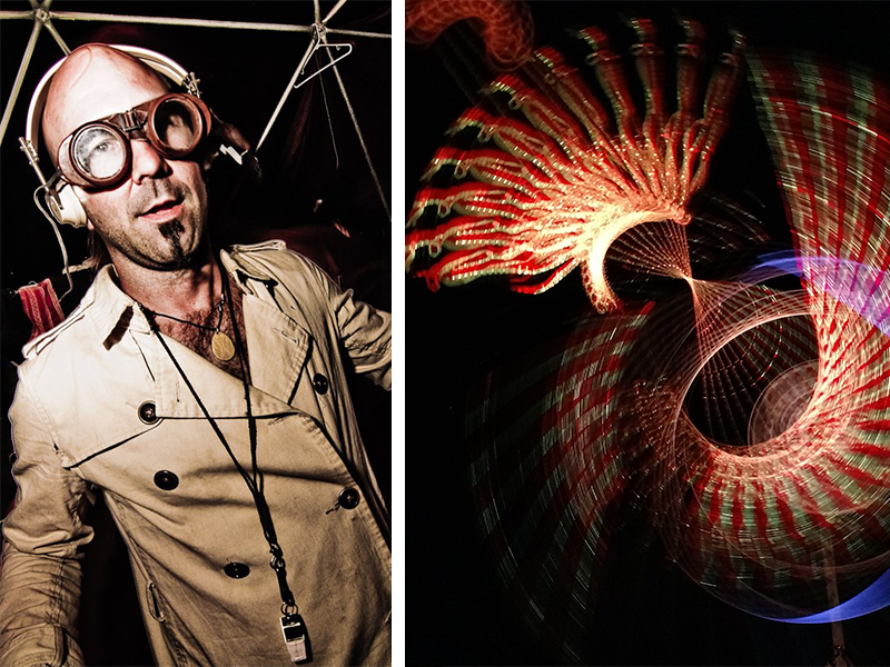 artist dressed like mad scientist next to his psychedelic artwork created from multicolor strobe lights and strings