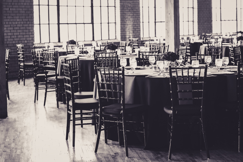 black and white image of a reception venue