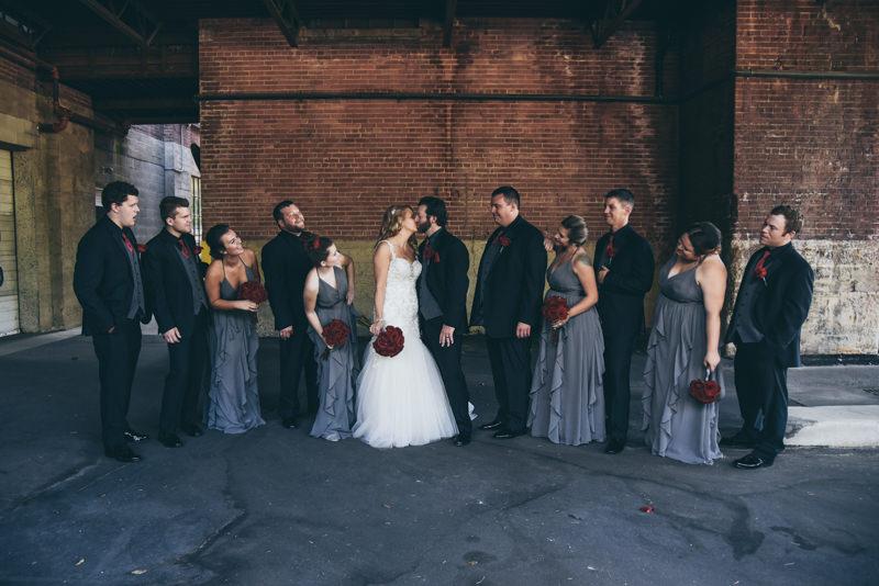 bridal party having fun