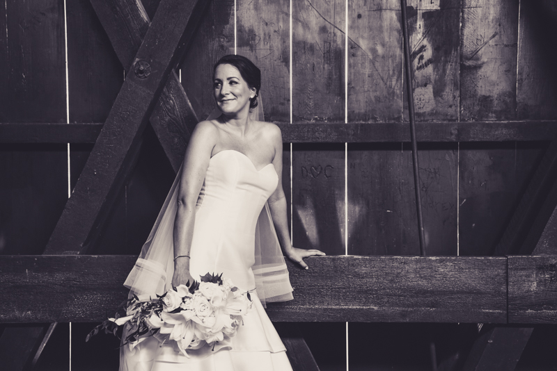 bridal party photos in a covered bridge