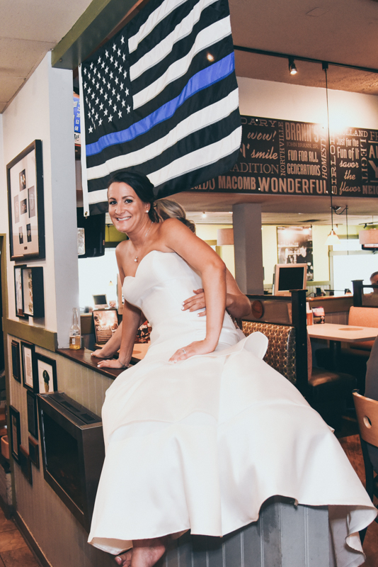bride hanging out at a local restaurant