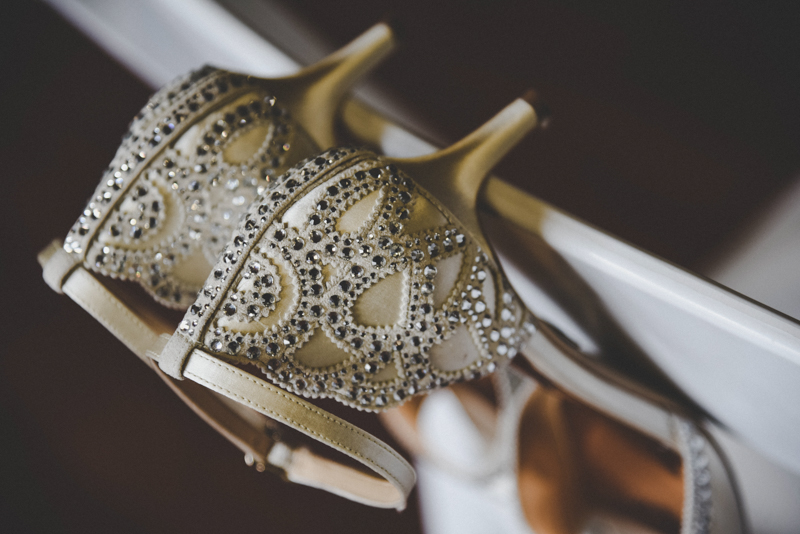 golden filigree wedding shoes
