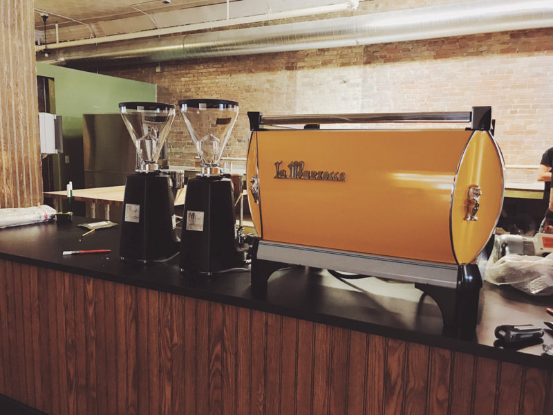 Orange Powder coated coffee machine espresso machine